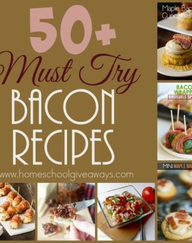 If you love Bacon, don't miss these 50+ Must Try Bacon Recipes! From breakfast to apps to desserts - these are sure to please! :: www.homeschoolgiveaways.com