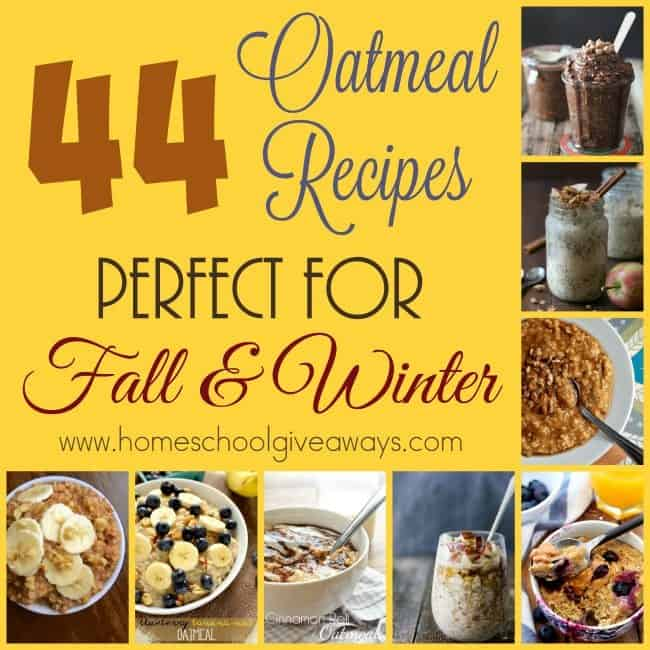Fall is just around the corner and that means warm breakfasts to start your day! Check out these 44 Oatmeal recipes that will warm you up! :: www.homeschoolgiveaways.com