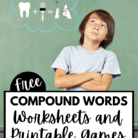 A olive green background with a boy an da thinking cloud. The thinking cloud is of the boy trying to put images into one word, or compound word.