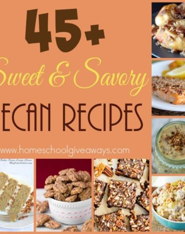 Pecans are a great Fall and Winter nut and can be used in a variety of recipes. Check out these sweet & savory breakfasts, salads, desserts and more! :: www.homeschoolgiveaways.com