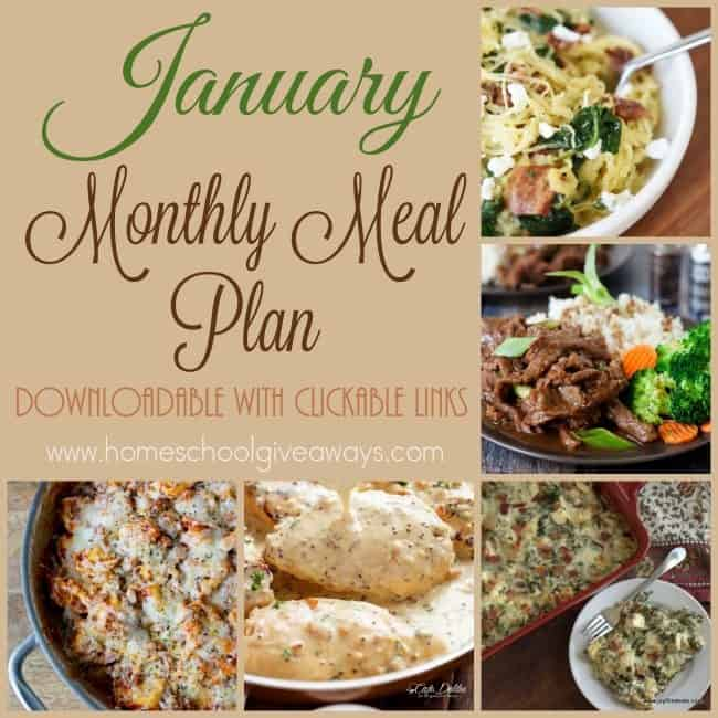 Start off the new year with a meal plan that will help reduce the stress of figuring out dinner every night. The meal plan is a downloadable PDF and has clickable links to recipes! :: www.homeschoolgiveaways.com