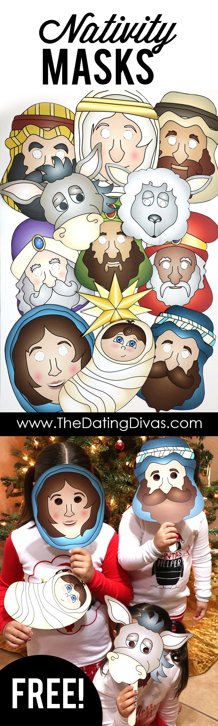 Free Printable Nativity Masks Or Color Your Own Masks And Story Script Homeschool Giveaways