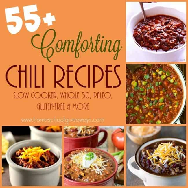 Chili is one of those All-American comfort foods that most people enjoy in the cooler months. These 55+ recipes are sure to warm your heart and fill your belly. :: www.homeschoolgiveaways.com