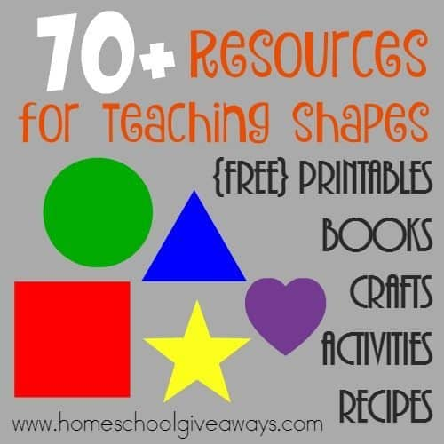Teaching your little ones all about shapes can be fun, but trying to find all the resources can be exhausting. Here are some great {free} printables, activities, crafts and more to make your lesson planning a little easier. :: www.homeschoolgiveaways.com