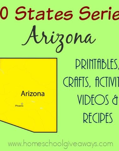 Arizona! The Grand Canyon State. Study more about the sites, food, history and more through printables, activities and more! :: www.homeschoolgiveaways.com