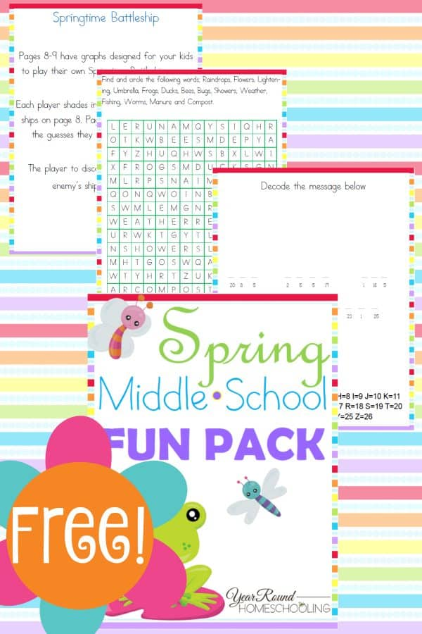 Free-Spring-Middle-School-Fun-Pack-By-Year-Round-Homeschooling
