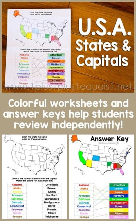 USA-States-and-Capitals-Worksheets