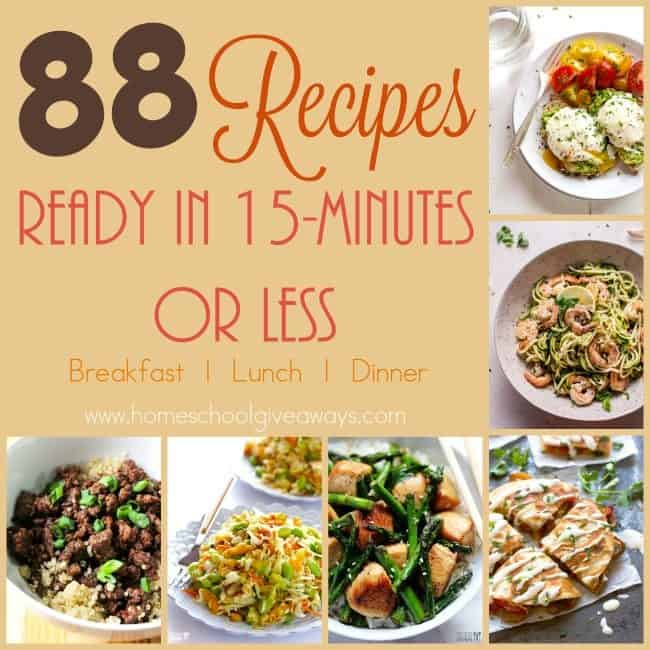 We all have busy nights, weeks and even seasons. These 15-minute recipes are sure to be hit with you and your family! This list has 88 recipes for breakfast, lunch and dinner! :: www.homeschoolgiveaways.com
