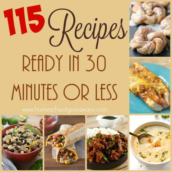 Don't have a lot of time, but want a home-cooked meal? These recipes are ready in 30-minutes or less! From breakfast to side dishes and Whole30 to Lunch & Dinner. We've got you covered. :: www.homeschoolgiveaways.com