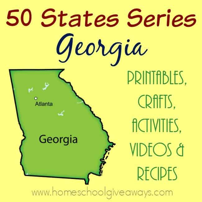 Learn all about the US State of Georgia with these free printables, crafts, activities, videos and recipes to make geography come to life! :: www.homeschoolgiveaways.com