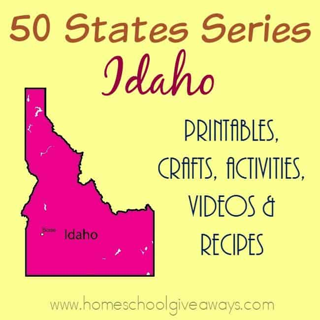 Our next stop on the 50 States tour is Idaho. Find printables, recipes, activities and more to make the most of your study. :: www.homeschoolgiveaways.com