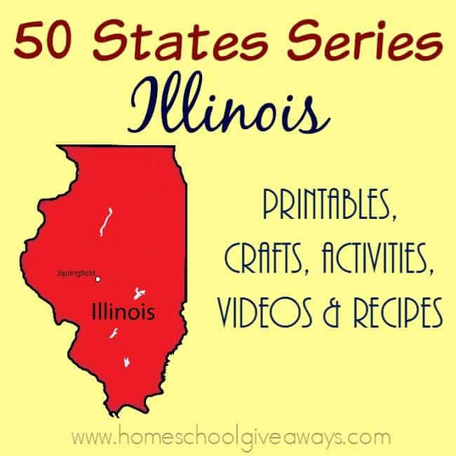 Our next stop on the 50 States tour is Illinois. Find printables, recipes, activities and more to make the most of your study. :: www.homeschoolgiveaways.com