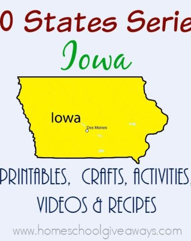 I am so excited about our next stop on the 50 States tour - Iowa. Find printables, recipes, activities and more to make the most of your study. :: www.homeschoolgiveaways.com