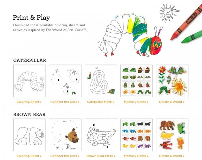 Free Eric Carle Coloring Sheets And