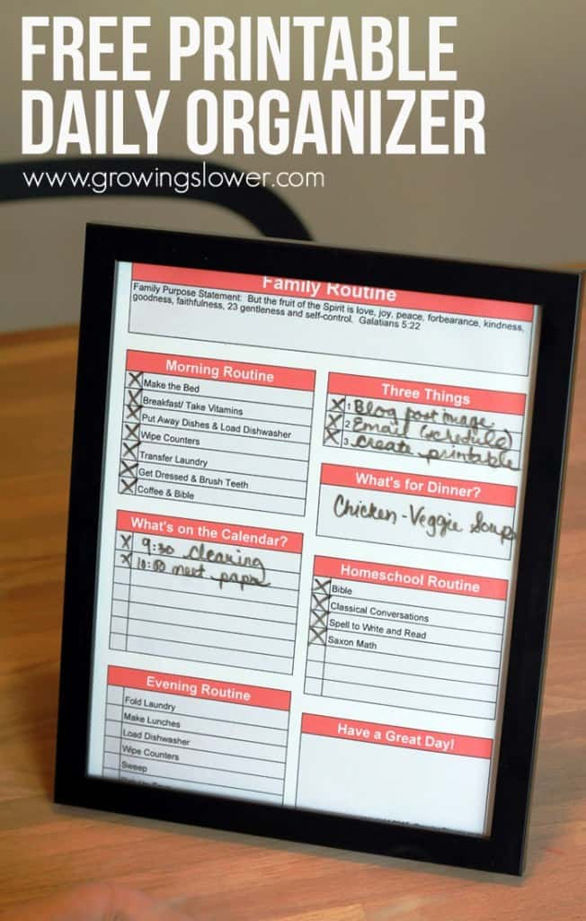 Free Printable Family Organizer And A Simple Stay At Home