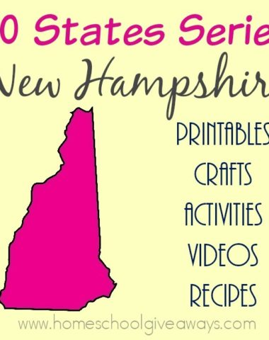 The next state on our journey across the United States is New Hampshire. Find everything you need to teach and/or learn about this New England State. Free printables, activities, crafts, recipes & more! :: www.homeschoolgiveaways.com