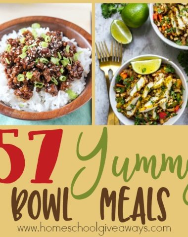 Have you tried making some of those bowl meals? I have gathered 57 yummy recipes for you to try! :: www.homeschoolgiveaways.com