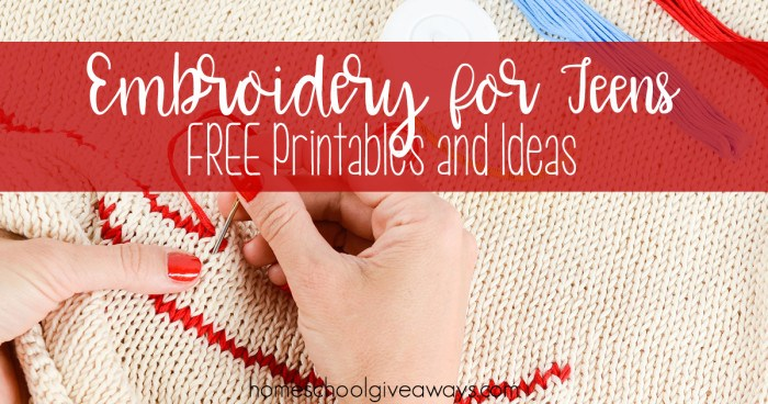 Embroidery for Teens FREE Printables and Ideas FB