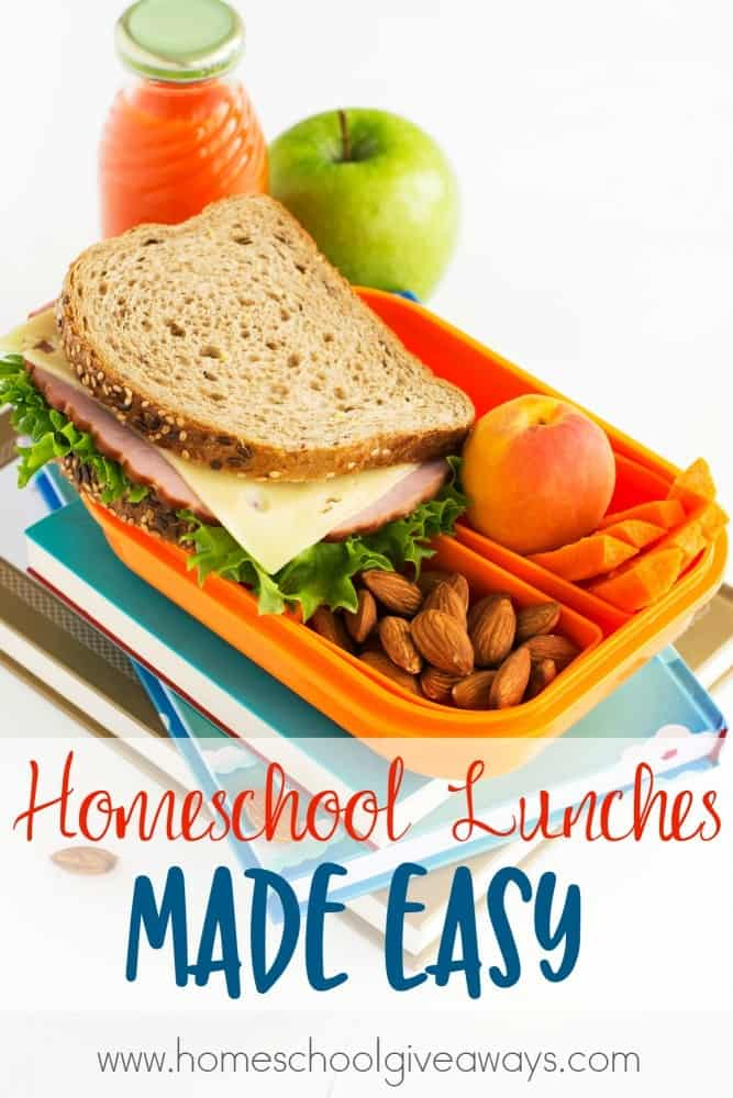Somehow lunch seems to be the hardest meal for most homeschool moms. Here are some great tips, ideas and recipes to make homeschool lunches quick, easy and healthy! :: www.homeschoolgiveaways.com