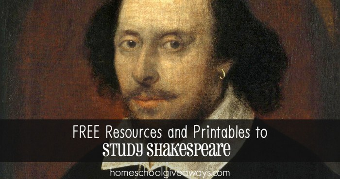 FREE Resources and Printables to Study Shakespeare FB