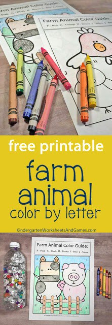 Farm Animal Color By Letter F-J Cow & Pig