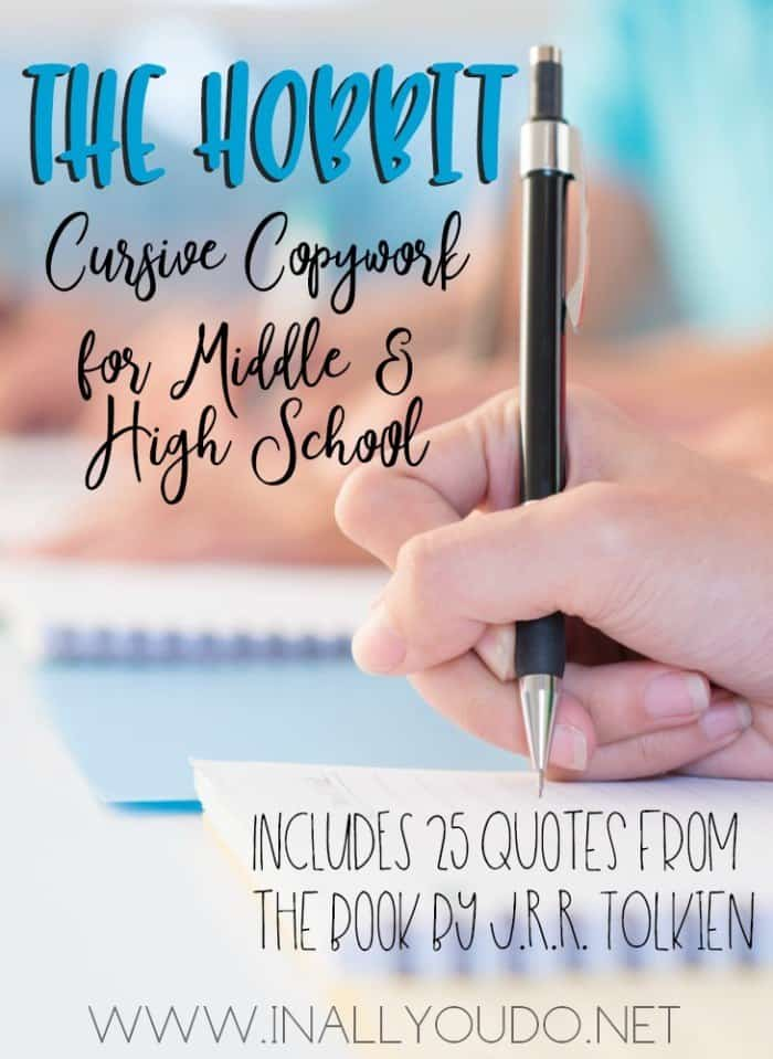 "If you're reading the book this year, use this FREE Cursive Copywork for ""The Hobbit"" with your Middle and High School students. :: www.homeschoolgiveaways.com"