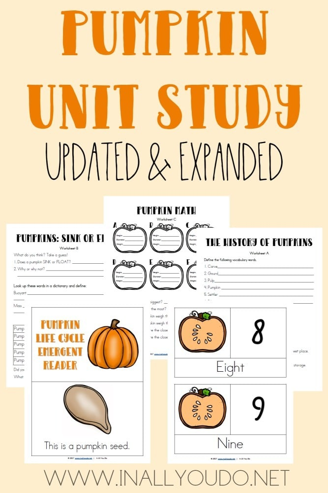 This Pumpkin Unit Study is perfect for any Fall unit. Includes Language Arts, Science, Geography, Math and MUCH more! Hurry...its only FREE thru 10.13.17! :: www.homeschoolgiveaways.com