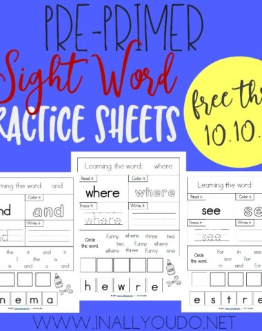 Don't miss this LIMITED TIME FREEBIE Pre-Primer Sight Word Worksheets! There are 40 pages, one for each sight word on the Dolch Pre-Primer list! :: www.homeschoolgiveaways.com