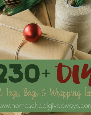 Whether you're looking to save money or just want to make your gifts more personal, check out this HUGE list of DIY Gift Tags, Bags & Wrapping Paper Ideas! :: www.homeschoolgiveaways.com