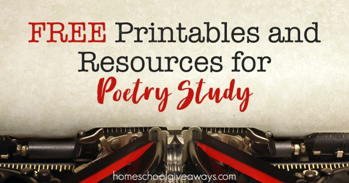 FREE Printables and Resources for Poetry Study FB