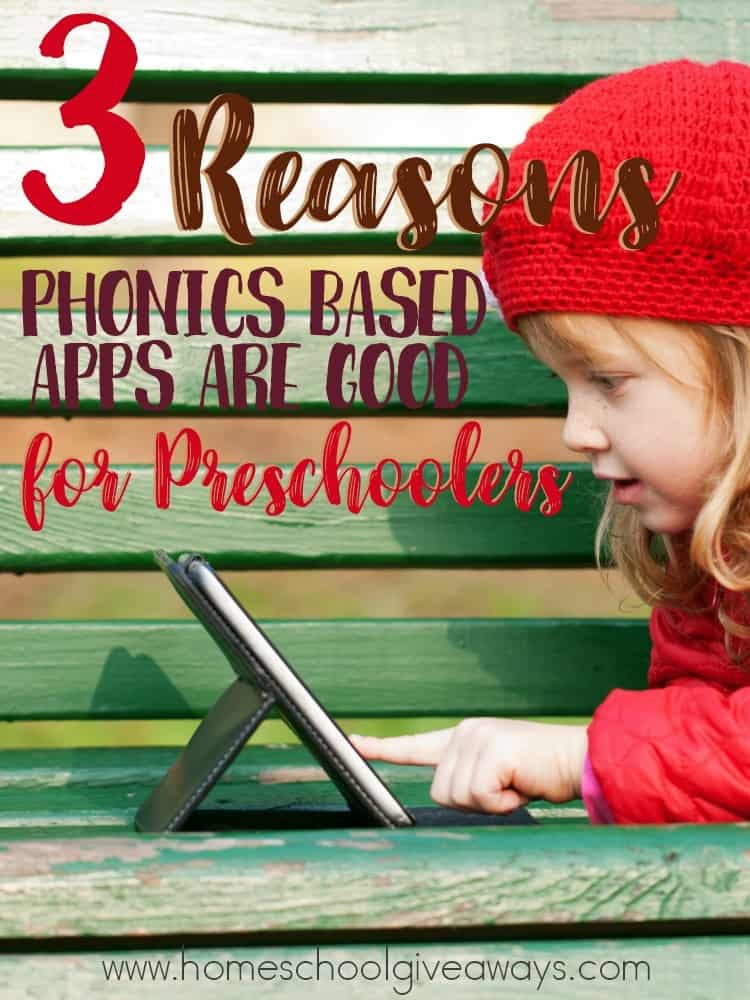 Do you use apps with your preschooler? There are some wonderful benefits to using apps, especially phonics based apps with your preschoolers. :: www.homeschoolgiveaways.com