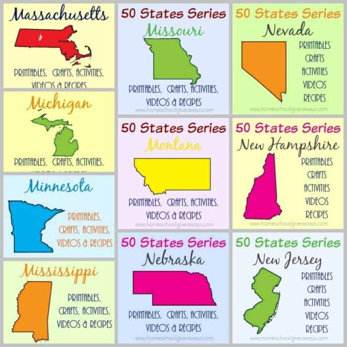 Studying the 50 states? Check out these resources including free printables, crafts, fun activities, travel destinations and recipes for all 50 states! :: www.homeschoolgiveaways.com