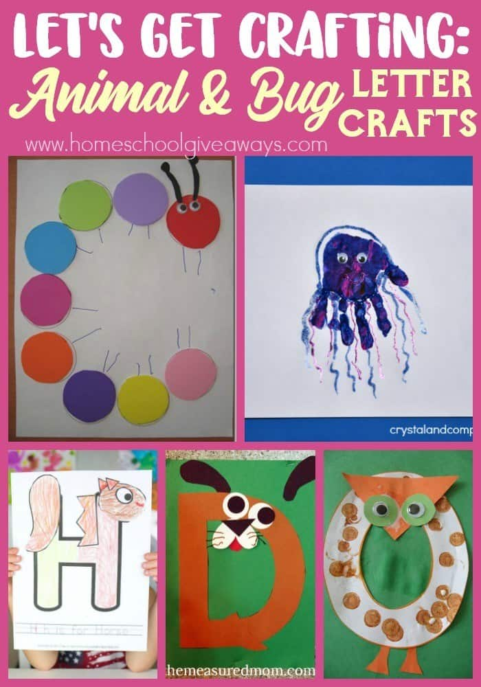 collage of letter animal & bug crafts