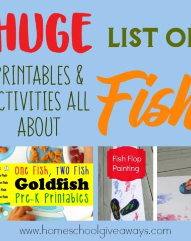 June 18th is Save a Fish Day, which means it's the perfect time to incorporate some fun learning ideas about fish in to your homeschool! Check out this HUGE List of Printables & Activities all about Fish! :: www.homeschoolgiveaways.com