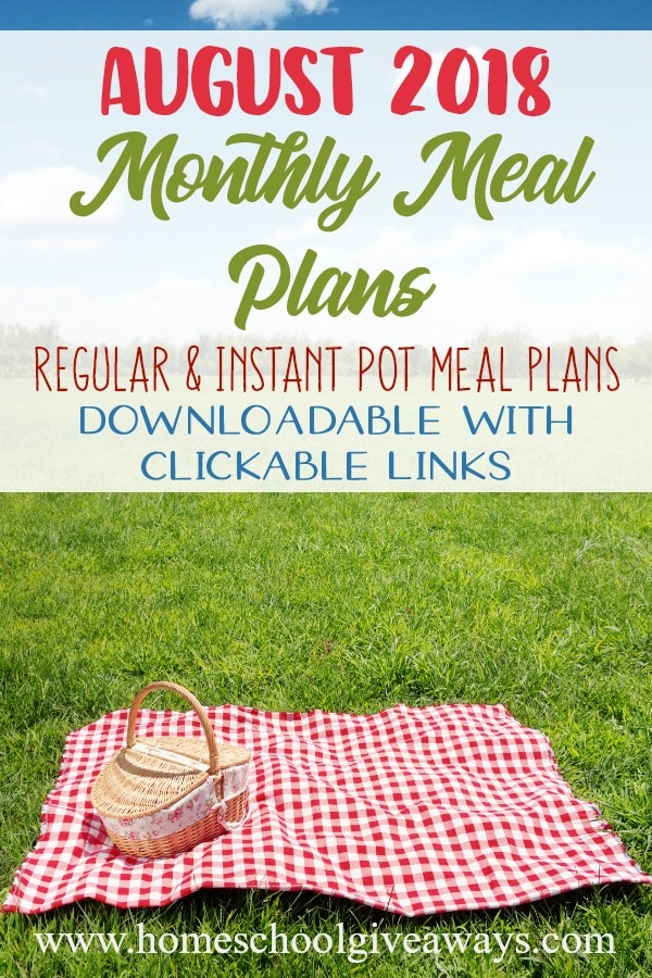 Headed back to school and a busy schedule? Don't stress over meals! Check out our Regular & Instant Pot Meal Plans for the month of August! They include summer salads, meals, grilling options and more! :: www.homeschoolgiveaways.com