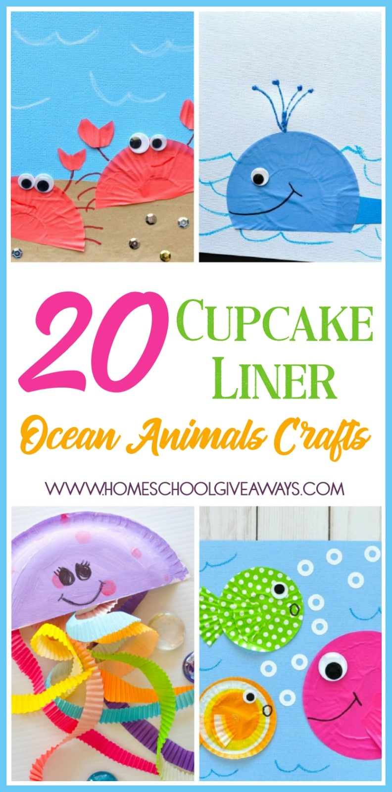 If you're studying Ocean Animals with your little ones, these Cupcake Liner Ocean Animals Crafts are sure to be the perfect addition to your unit! :: www.homeschoolgiveaways.com