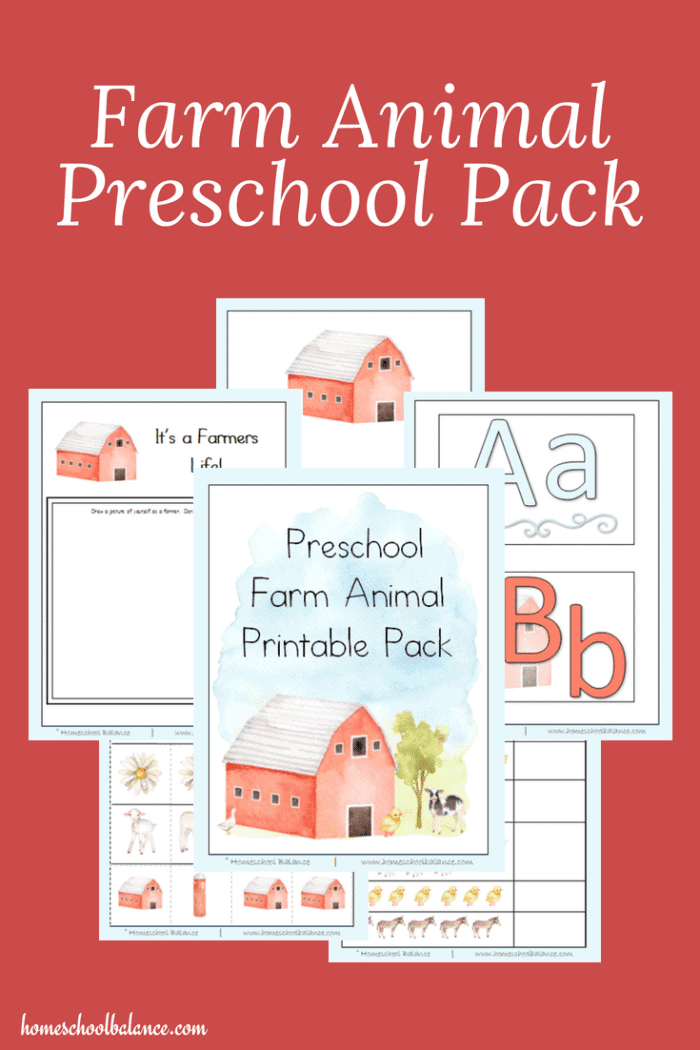 Are you looking for a printable preschool pack full of cute farm animals? Download this preschool farm animal pack today!