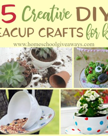 Do your girls love fairy gardens? Are they obsessed with tea parties? Why not combine the two (and more) with these creative DIY Teacup Crafts for kids! :: www.homeschoolgiveaways.com