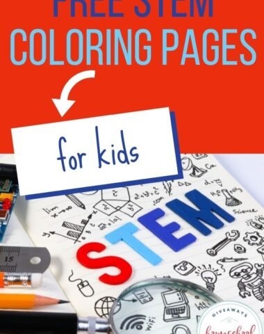 red, blue, and white images of STEM coloring pages with text overlay