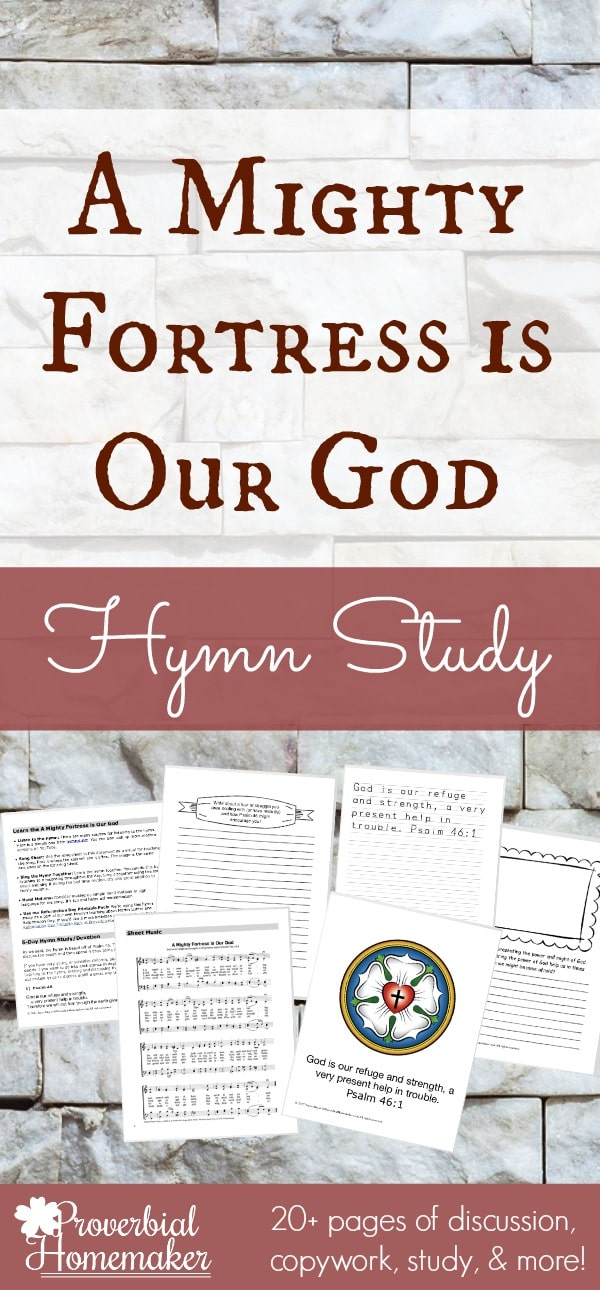 "sample pages of the ""A Mighty Fortress is Our God"" Hymn Study"