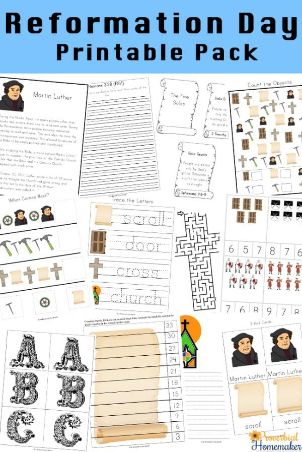 sample pages from the Reformation Day Printable Pack