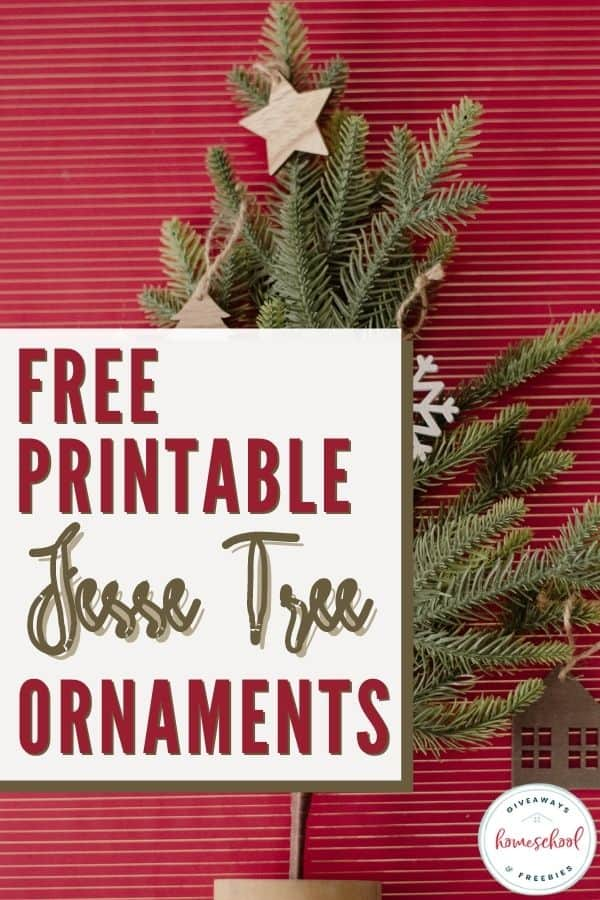 free printable jesse tree ornaments text overlay on a table top christmas tree.