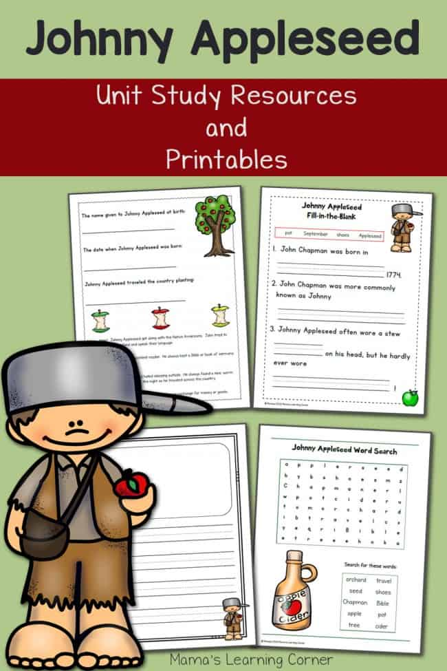 sample pages of Johnny Appleseed printables