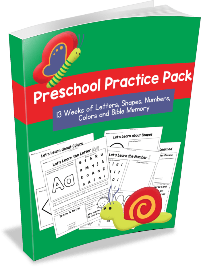 Preschool Practice Pack: 13 Weeks of Letters, Shapes, Numbers, Colors, & Bible Memory