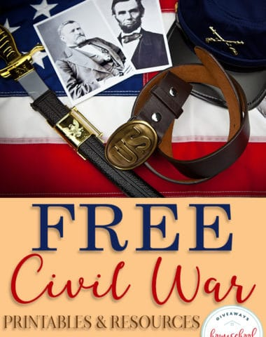 Whether you're studying the Civil War or just love history, your students will appreciate this huge list of FREE Printables & Resources. From worksheets to activities, to projects, we've got you covered. #civilwarhistory #americancivilwar #history #homeschool