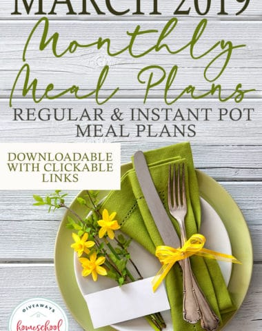 Meal plans are a great way to help you stay on budget, keep you on track to get healthy or just help you stay organized! Don't miss this month's meal plan available to download now! #mealplan #mealplanning #recipes #hsgiveaways