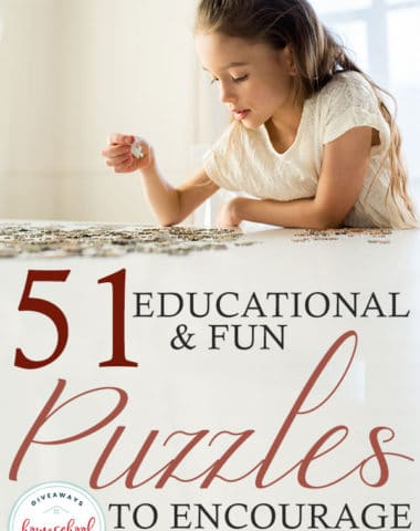 young girl completing a puzzle - overlay 51 Educational & Fun Puzzles to Encourage Learning