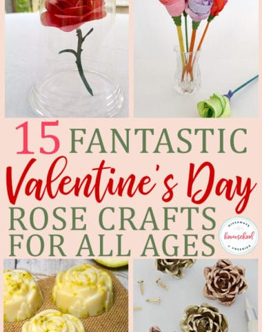 Collage of Valentine's Day Rose Crafts for All Ages