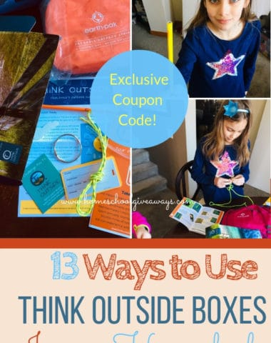13 ways to use THiNK OUTSiDE BOXES in your homeschool (plus coupon code) - and they're not just for science and nature lessons! #thinkoutsideboxes #homeschoolwiththinkoutsideboxes #subscriptionboxesforkids #offgridlife #homeschoolgiveaways