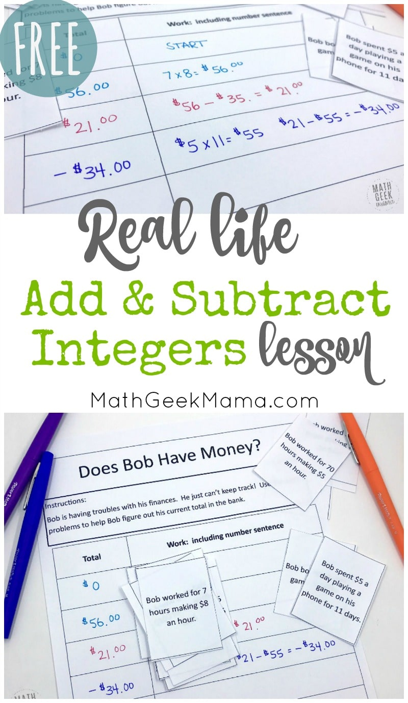 Free Real Life Lesson For Adding And Subtracting Integers Homeschool Giveaways